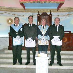 esq. p/ dir: Irmãos Absaí (Orador), Wanderson, Gesmar (Venerável) e Menezes.